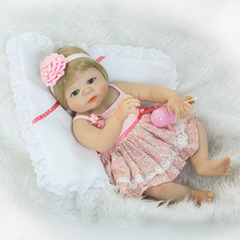 Full Body Silicone Reborn Girl Baby Doll Toy 55cm Baby Reborn Babies Lifelike birthday Present Gift Play House Bathe Toy(China)