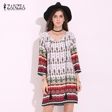 Buy 2017 ZANZEA Womens Boho Summer V Neck Floral Print Lace Casual Loose Party Mini Dress Short Beach Sundress Plus Size for $8.25 in AliExpress store