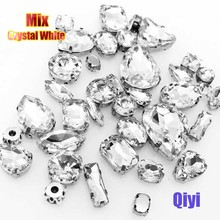Sell at a loss! 50pcs/bag high quality mixed shape crystal white glass sew on claw rhinestones,diy clothing accessories