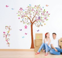 7250* home decoration explosion models / 180 * 170 large wall-bent tree Owl wall stickers factory plans to customize Christmas(China)