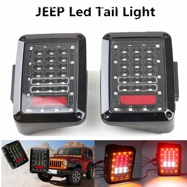 1 pair European edition Reverse LED Tail Light Brake Signal Lamp For J eep Wrangler JK 2007-2015<br><br>Aliexpress