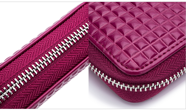 Lomelobo Lady Split Leather Card Wallet Holder Girl Zipper Coin Purse Women Cowhide Large capacity Card Case Housekeeper HCL7126 Details (07)
