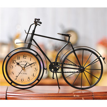 Iron bicycle desktop clock cinnamon and black color mute home decoration vintage table clock horloge frozen reloj 21(China)