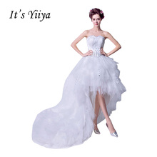 It's YiiYa Off White Strapless Sleeveless Popular Wedding Dresses Feathers Crystal Luxury Vestidos De Novia Wedding Gown QXN103(China)
