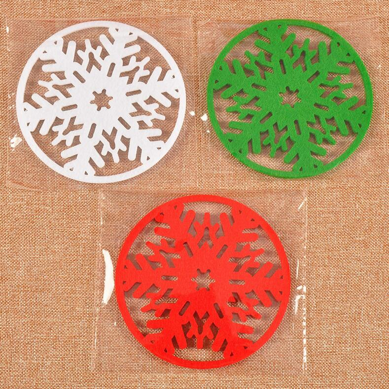 10Pcs/Lot Non-woven Snowflake Embellishments Mat Christmas Decorations Red/Green/White Tea Coffee Cup Mat Dia.10cm Home Xma