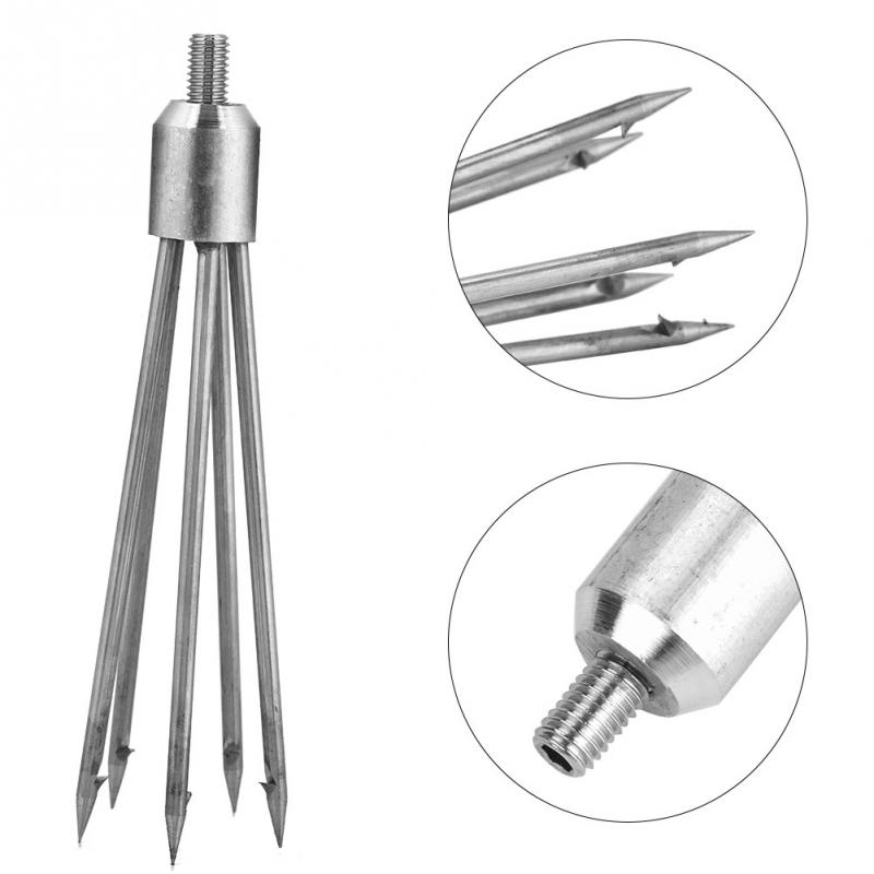 Barbed Stainless Steel 5 Prong Tine Harpoon Fishing Spear Gig Gaff Fork Hook K6
