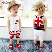 2017 Kids Baby Boys Union Jack Outfits Vest Tops Pants Set Clothesed T-shirt And Pants Suits Fantasy(China)