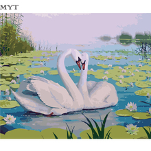 Swans Diy oil painting by numbers landscape Night Clock Tower Framed pictures on canvas home decoration unique gift craft paint