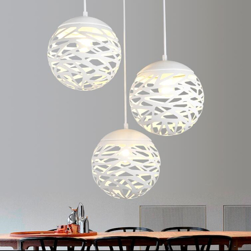 Modern LED pendant  lamp iron Hollow out white light  metal ball the living bedroom shop  lampshade style lighting light fixture<br>