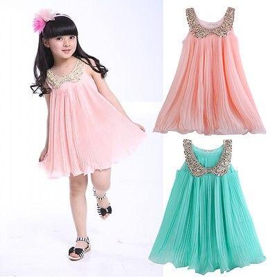 Princess Baby Girls Party Dress Sleeveless Chiffon Pleated Dress Summer Dress<br><br>Aliexpress