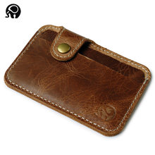 Minimalist Genuine Leather Credit Card Wallet 2 Card Slots Case Bag Vintage Style ID Bus Card Holder with Buckle for Man Woman