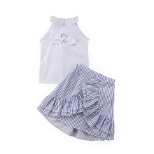 2018 NEW fashion summer Kid Baby Girls Outfits T-shirt Tops and Stripe Tutu Skirt Summer Clothes Set stylish lovely CH(China)