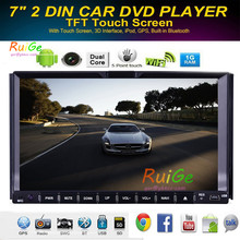 HD 7INCH 2 din Android capacitive touchscreen car DVD player GPS+Wifi+Bluetooth+Radio + 1 GB CPU + TV + 3 G + car pc + stereo