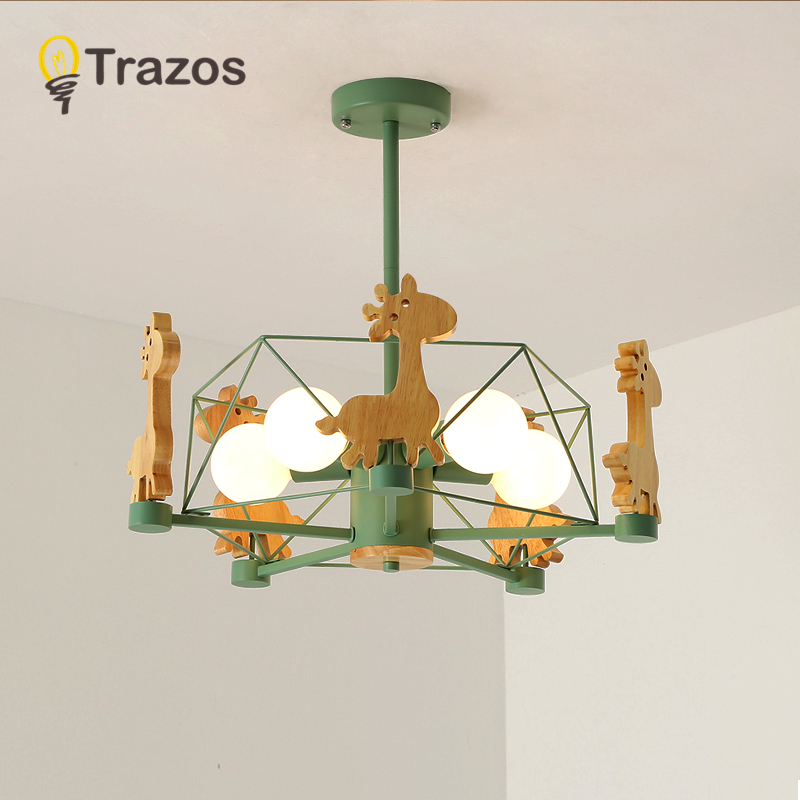 New Animal LED Chandelier Wooden Lustres For Living Room Wood Bedroom Dining Light Modern Ceiling Mounted Chandeliers Lighting