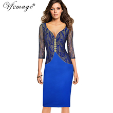 Vfemage Women Sexy Hot Elegant V-neck Floral Lace Slim Casual Party Evening Special Occasion Pencil Sheath Bodycon Dress 8051(China)