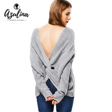 AZULINA Autumn New Sexy Off Shoulder Sweater 2017 Pull Plunging Neck Twist Back Women Oversized Sweaters Long Sleeve Jumpers(China)