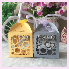 50pcs/lot Paper arts Craft Decorative supply big and small circles house shape Wedding Candy Box Bride Gift Box Portable Case