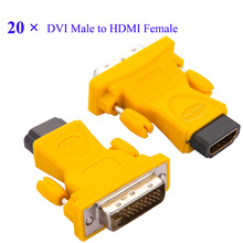 20pcs/lot VOXLINK High Quality HDMI to DVI adapter Socket 24+1 DVI Male to HDMI Female Converter Support 1080P for HDTV LCD