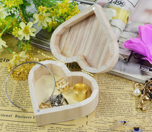 Jewelry Box Wood Love Heart Shape DIY Mud Base Art Decor Children Kid Baby Wooden Crafts Toys