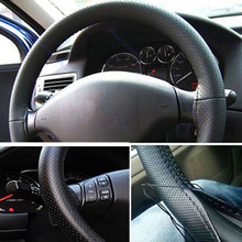 37-38cm Utility Car Truck Leather Steering Wheel Cover With Needles and Thread Black