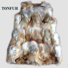 Hot Sale!Genuine Red fox fur vest women luxury fox fur jacket winter fox fur coat  Free Shipping  HP015