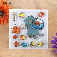 Cat Fish Gift Box Scrapbook DIY photo cards account rubber stamp clear stamp transparent stamp 10.5x10.5cm KW7050415