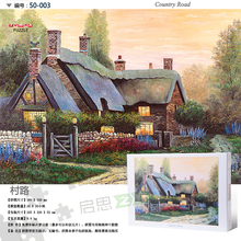 Tomax 500pcs jigsaw puzzle Country Road Cottage by the Lake Snowy Journey