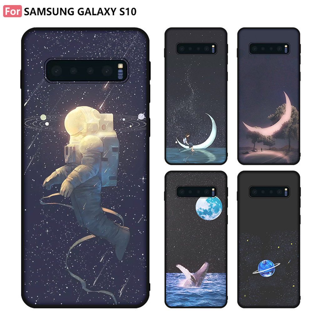 Eqvvol Space Moon Case For Samsung Galaxy S8 S9 S10 Plus S10 Lite A6 A7 A8 Note 8 9 J3 J5 J7 Flower Cases Slim TPU Cover Coque(China)