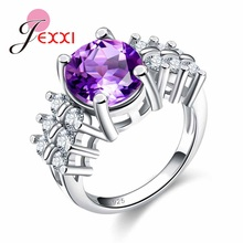 JEXXI Fashion ring AAA CZ Jewelry Light Purple CZ 925 Sterling Silver Ring Size 6 7 8 9 10 High Quality Wholesale Price(China)