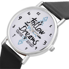 Clock Relogio Feminino Hot Sales Watches Women Follow Dreams Words Pattern Leather Quartz Watch New Reloj mujer Ladies watch