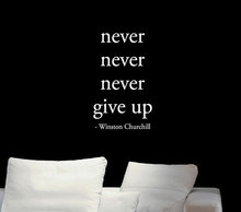 Never Give up Winston Churchill Inspiring Quotes wall Sticker, gym fitness room Decor vinyl decal