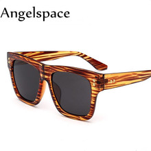 Angelspace 2017 Fashion Square Big Frame Sunglasses Men Famous Brand Design Vintage Flat Top Mirror Sunglasses Women A036(China)