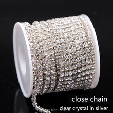 10Yrads/lot ss6-ss18  dense Crystal rhinestone chain close crystal in silver  Sew on Cup chain for clothing ornament accessories