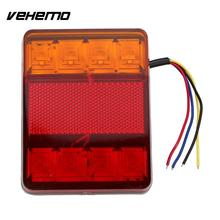 Vehemo Waterproof 8 LED Red Yellow Tail Warning Light 12V for Trailer Truck Boat(China)