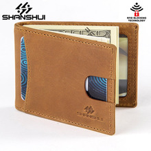 Vintage Genuine Leather Men Money Clip RFID Blocking US Dollars Thin Card Pocket Male Short Wallets Carteiras Masculinas Cowhide(China)