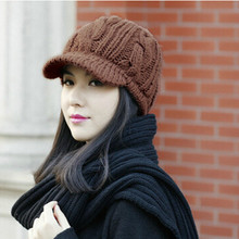 2016 New Women Winter Knitted Hat Female Crochet Wool Warm hat Fashion Winter Peaked Cap Coffee