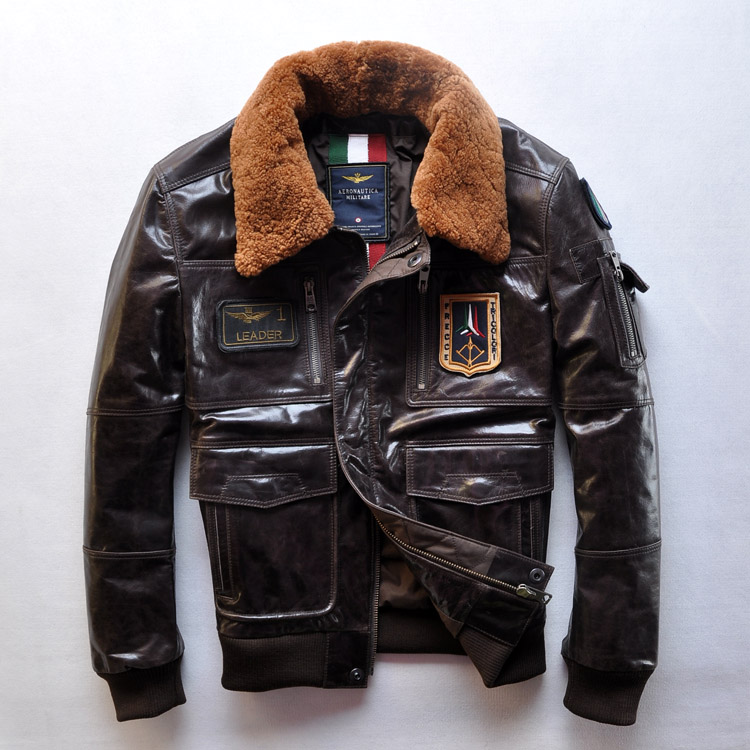 2017 Top Calfskin Air Force Men's Leather Jackets Flight Suit Jacket AM Aeronautica Militare Top selling for Christmas Gift