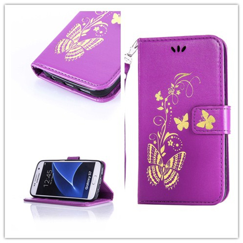 Hot stamping process Flip leather Wallet font b Case b font For coque font b Samsung