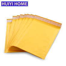 Huiyi Home 20pcs/lot Yellow Kraft Paper Bubble Bag 3 Sizes Cushioning Shockproof Storage Bags Mailing Envelope Pouchs EGF251(China)