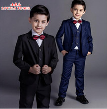 5pcs new arrival fashion baby boys kids blazers boy suit for weddings prom formal black/navy blue dress wedding boy suits(China)