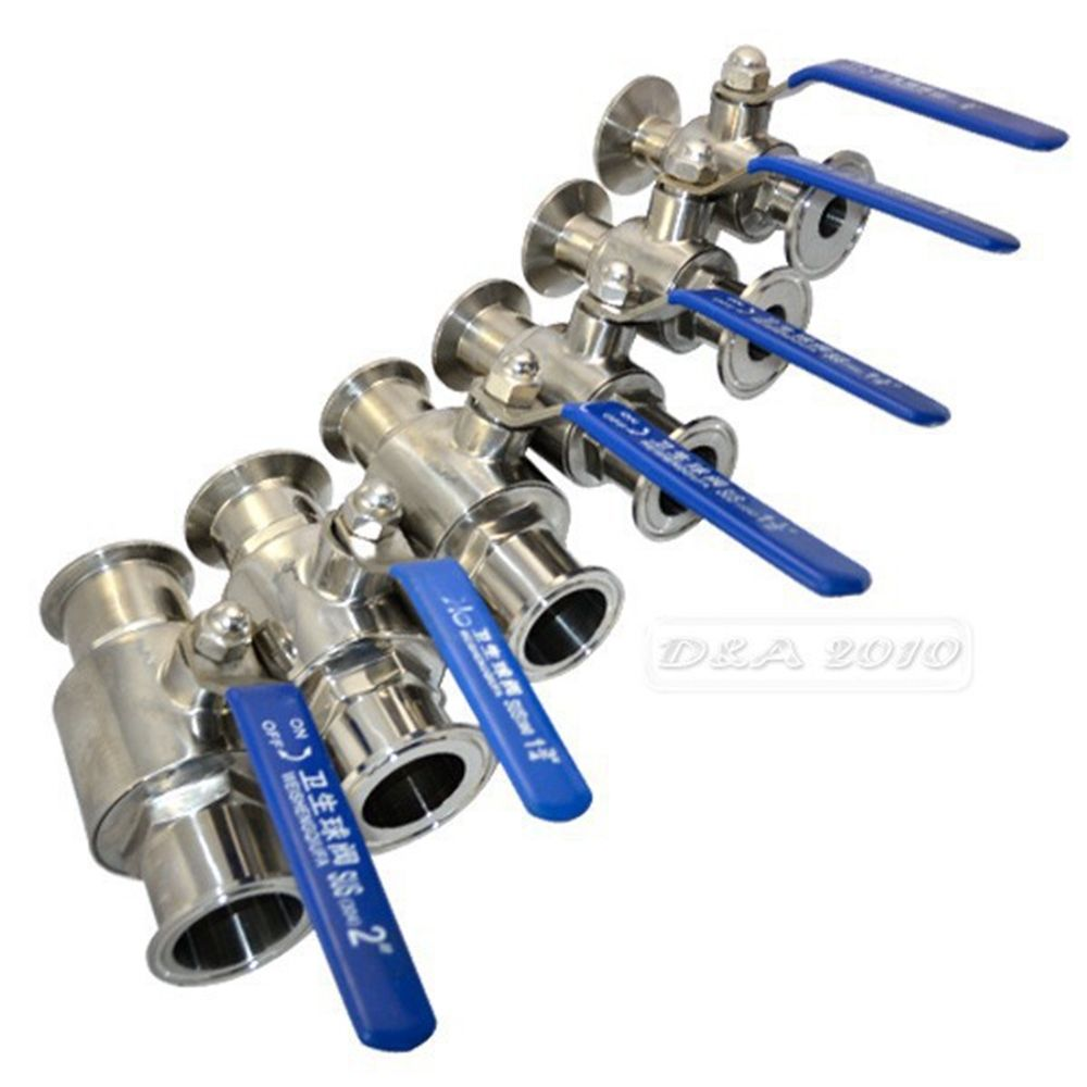 1pc 3/4 19MM Sanitary Full Port Ball Valve Clamp Type Ferrule Stainless Steel SS304<br><br>Aliexpress
