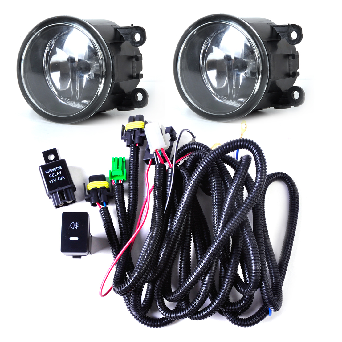 beler Wiring Harness Sockets Switch + 2x H11 Fog Lights Lamp 4F9Z-15200-AA Kit for Ford Focus Mustang Honda CR-V Nissan Sentra<br>