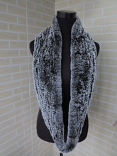 Genuine rex rabbit fur  circle scarf wrap cape  black with white tips