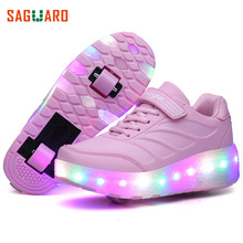 SAGUARO Children Roller Skate Shoes With Wheels for Kids Automatic LED Light Shoes Fashion Girls Boys Luminous Glowing Sneakers