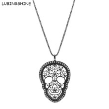 LUBINGSHINE 2017 New Hollow Jewelry Long Skull Pendants Necklaces Women's Winter Autumn Flower Sweater Chain Christmas Gifts(China)