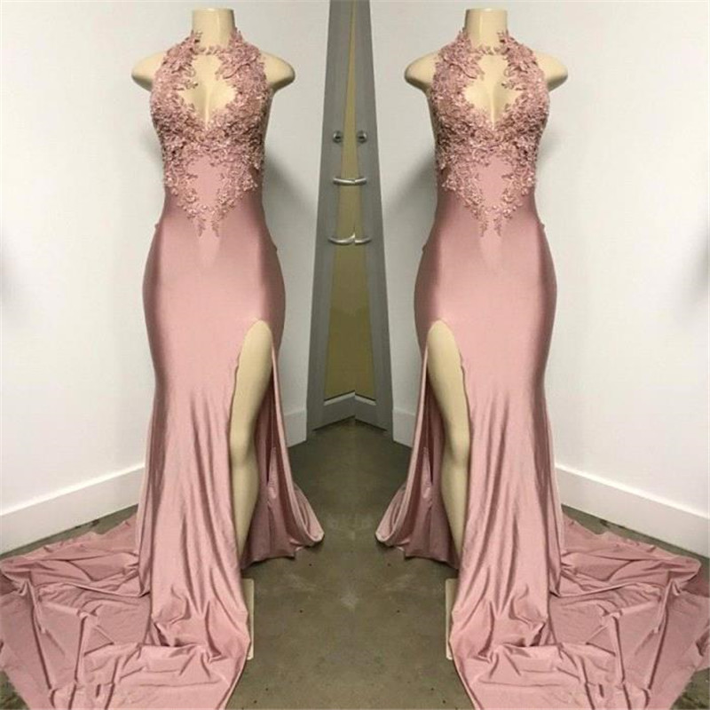 Vestidos De Gala 2019 Sexy Halter Side Slit Long Prom Dress Charming Pink V-Neck Appliques Backless Prom Gowns