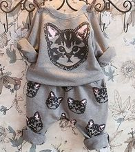 2016 New Hot-selling 2pcs kids Girls Long Sleeve Cat Kitten Printed T-shirt Tops+Pants Sets Outfits Spring Autumn Clothing Set