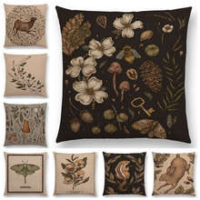 Hot Sale Classical Things Gems Minerals Floral Elk Nature Walks Garden Flowers Leaf Deer Bird Moth Owl Cushion Cover Pillow Case(China)
