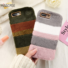 KISSCASE Fur Case For iPhone 6 7 plus Case For iPhone X 10 8 5S SE 6S Case Fundas Silicone Cute Christmas Plush Velvet Warm Case(China)