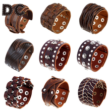 DC Vintage Punk Big Wide Brown Genuine Leather Braid Wrap Bracelet Bangle Wristband Cuff Snap Clasps for Male Men Jewelry Gifts(China)